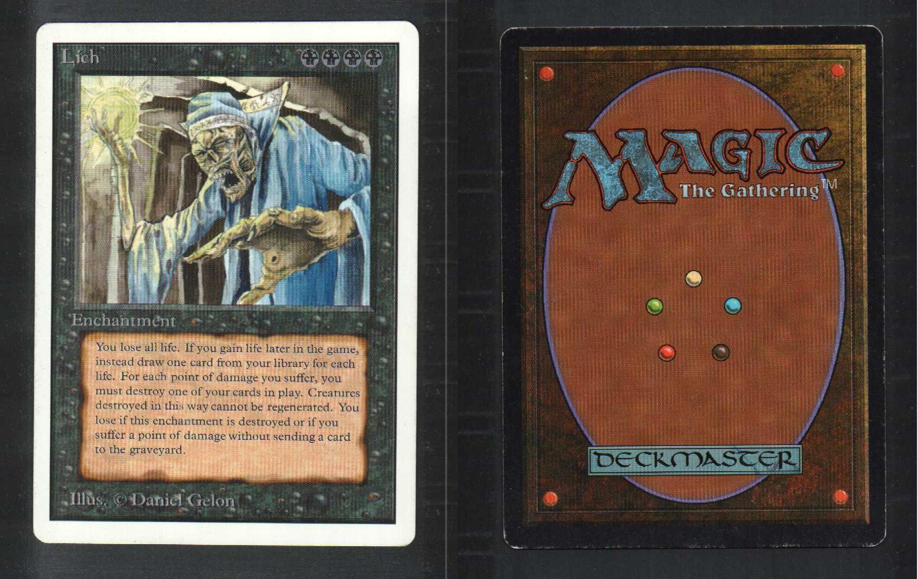 1 Unlimited Lich (L03) - Black Rare MtG Magic the ...
