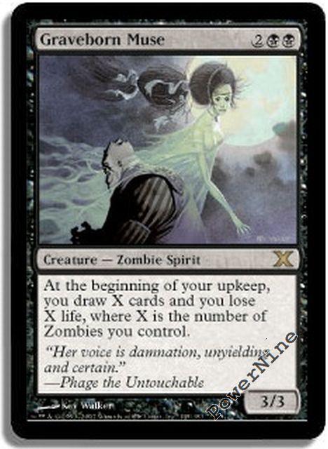 Moderatly Played 1 x MTG Graveborn Muse Tenth Edition English