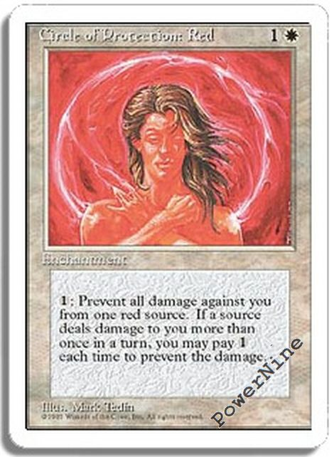 Circle of Protection Red X4 LP 4th Edition MTG Magic Cards White Common