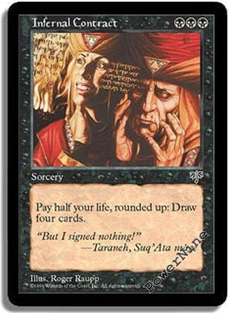 4 Infernal Contract = Black Seventh 7th Edition Mtg Magic Rare 4x x4